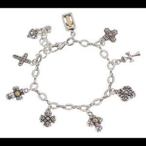 Brighton Eternity Cross Silver Bracelet